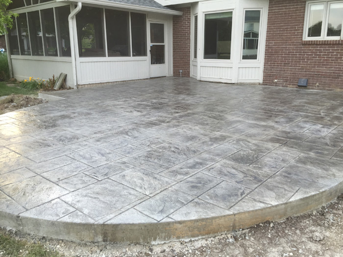 Gray Concrete With Deep Charcoal Release Majestic Ashlar Stamp